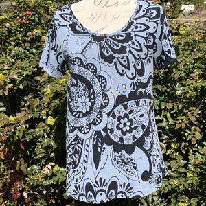 LuLaRoe Gray & Black Floral & Paisley Print Tee